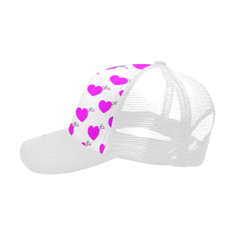 WHITE HEART & NEEDLE TRUCKER HAT
