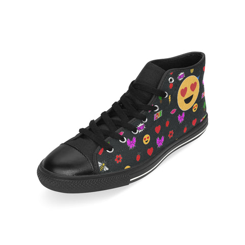 EMOJI PATCHES  HIGH TOP CANVAS SNEAKERS FOR KIDS