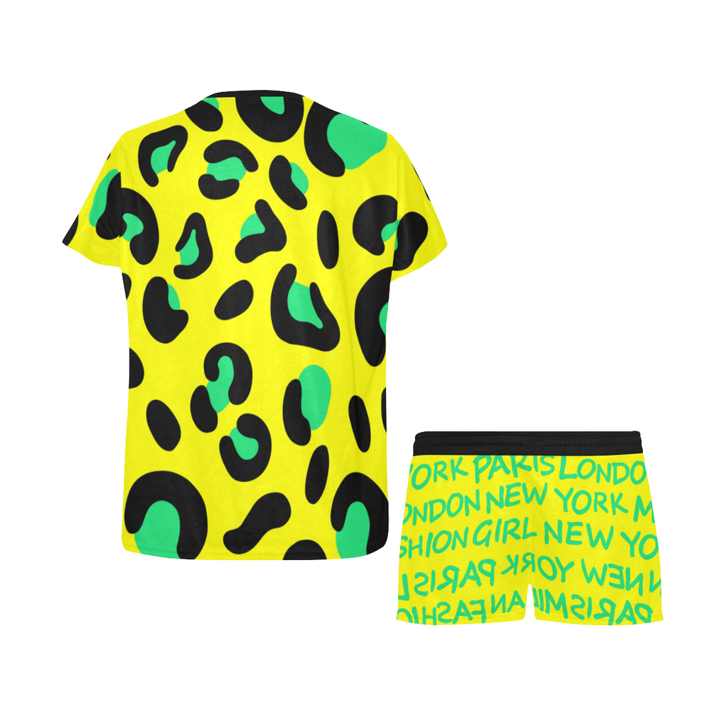 FASHION GIRL GRAFFITI YELLOW PAJAMA SHORT SET