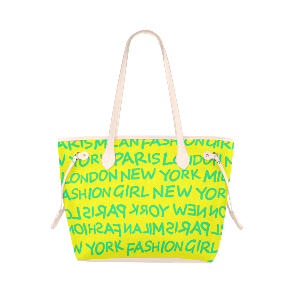 FASHION GIRL GRAFFITI NEVERFULL CANVAS TOTE BAG-YELLOW