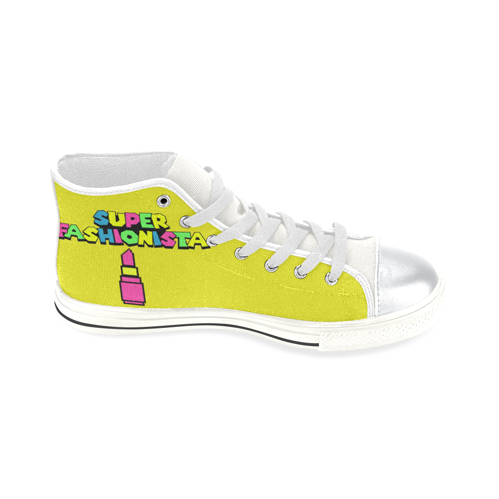 SUPER FASHIONISTA HIGH TOP CANVAS GIRLS' SNEAKERS LIME