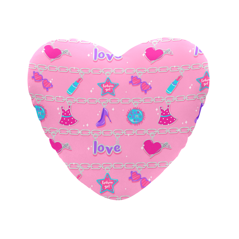 CHARMED HEART SHAPED PILLOW- PINK