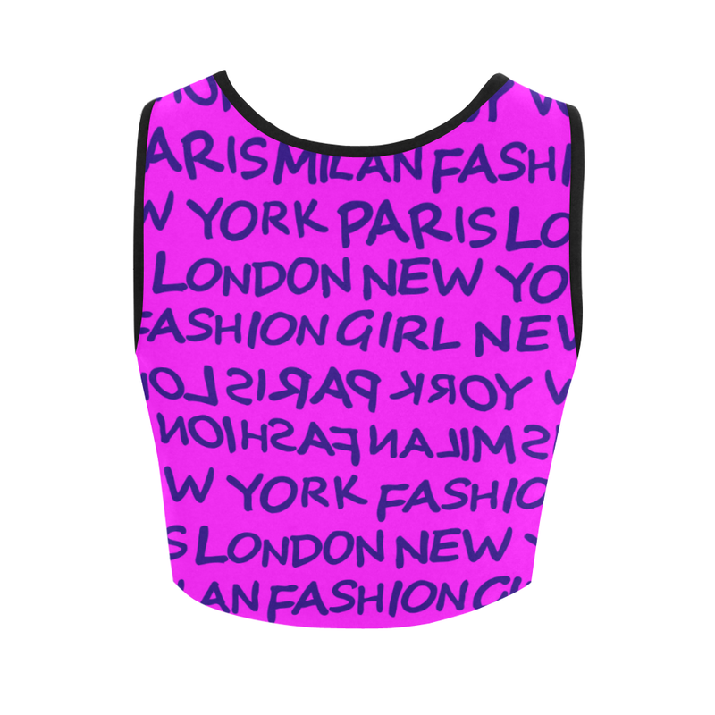 FASHION GIRL PINK GRAFFITI FITNESS CROP TOP