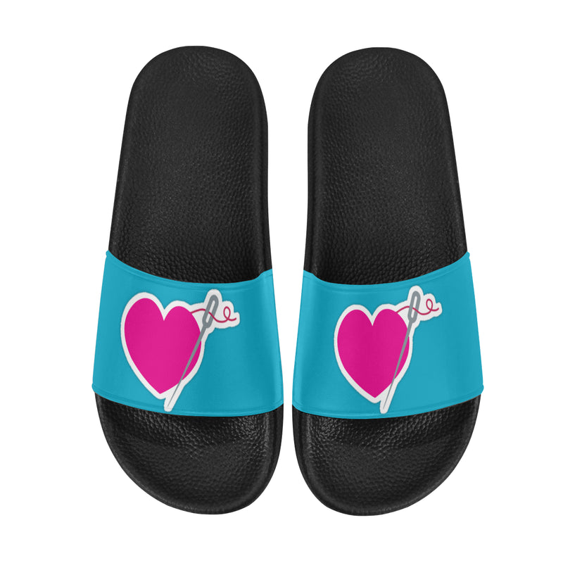 HEART AND NEEDLE SLIDE SANDALS- 7 COLORS