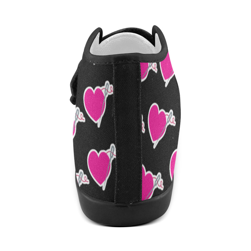 HEART AND NEEDLE BLACK VELCRO GIRLS' SNEAKERS