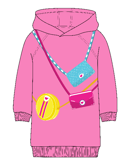OVERSIZED HOODIE DRESS - PINK
