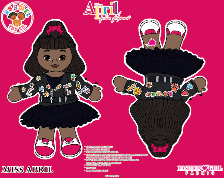 MISS APRIL FASHION GIRL FABRIC PANEL