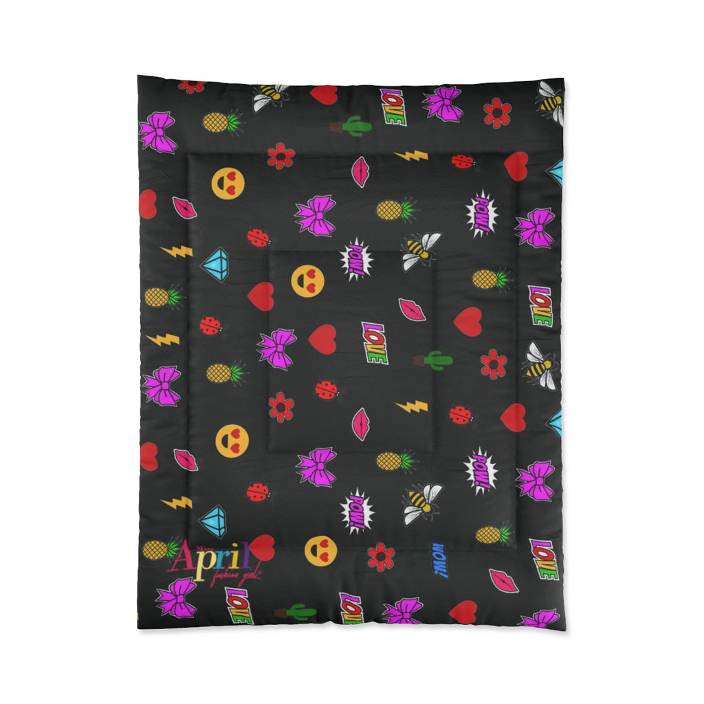 "MISS APRIL'S EMOJI PATCHES Twin Comforter 68"" x 88"""