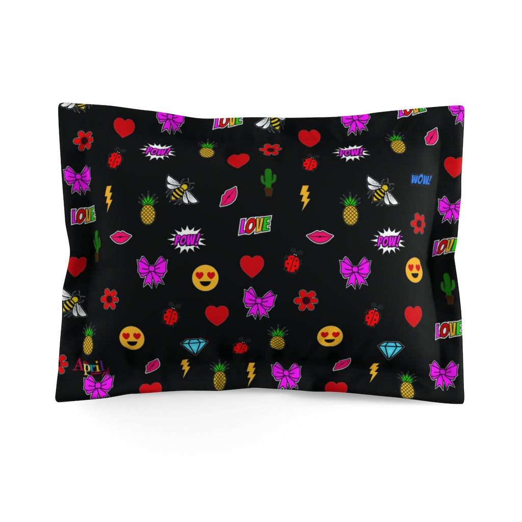 MISS APRIL'S EMOJI PATCHES Microfiber Pillow Sham