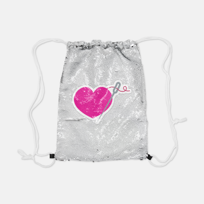 Heart and Needle Reversible Sequin Backpack