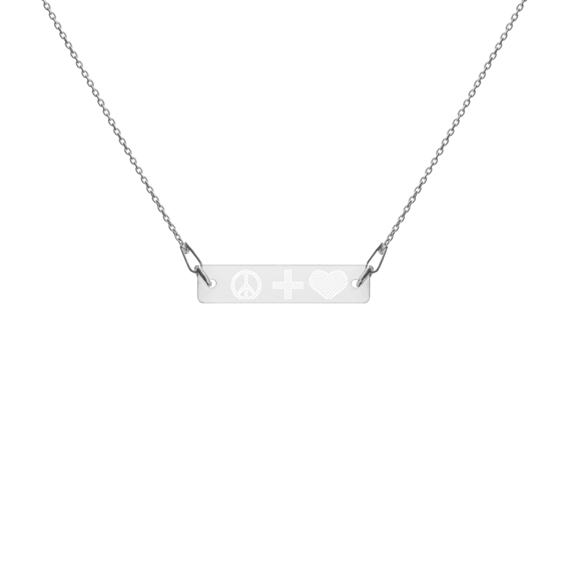 Engraved EMOJI Bar Chain Necklace- peace + love