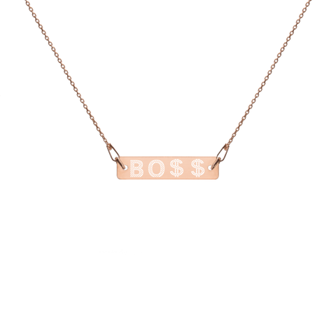 Engraved EMOJI Bar Chain Necklace- BO$$