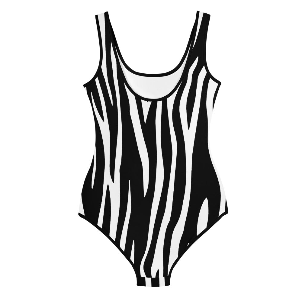 HEART AND NEEDLE ZEBRA YOUTH SWIMSUIT
