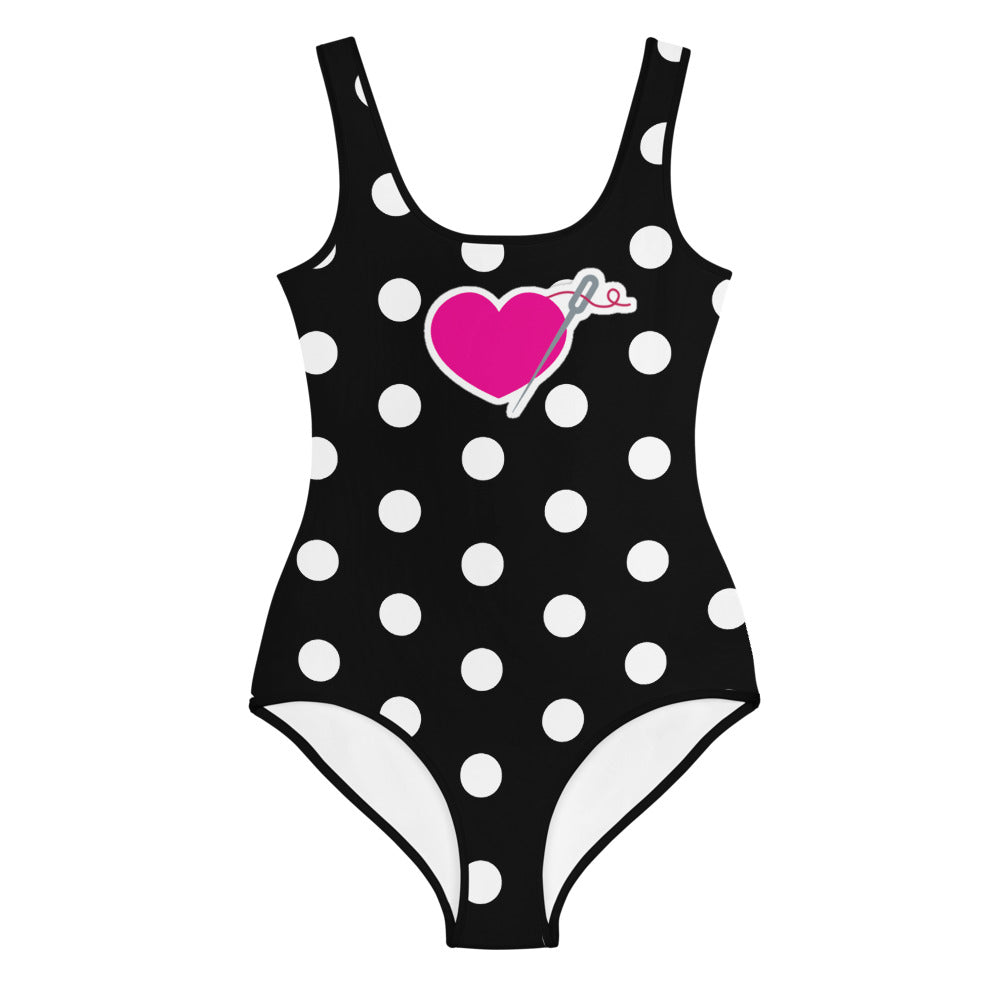 HEART AND NEEDLE POLKA DOT YOUTH SWIMSUIT