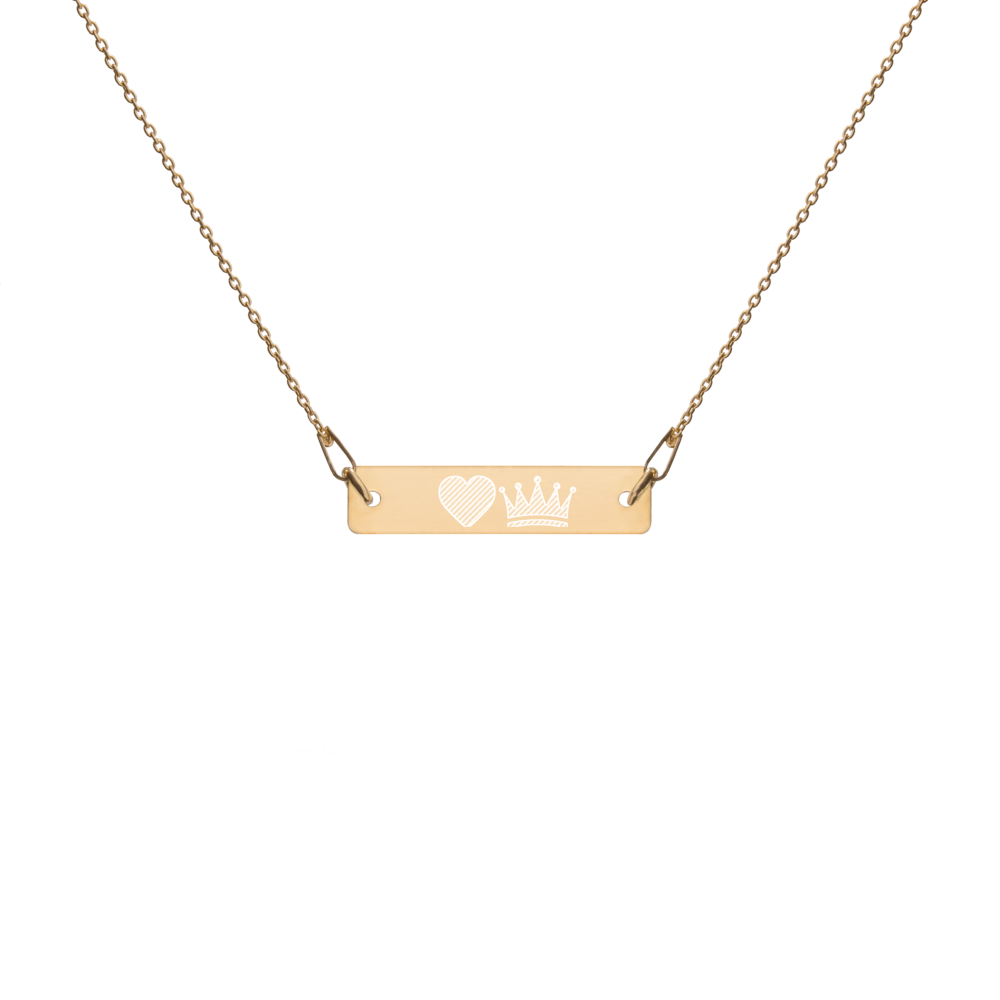 Engraved EMOJI Bar Chain Necklace- heart and crown
