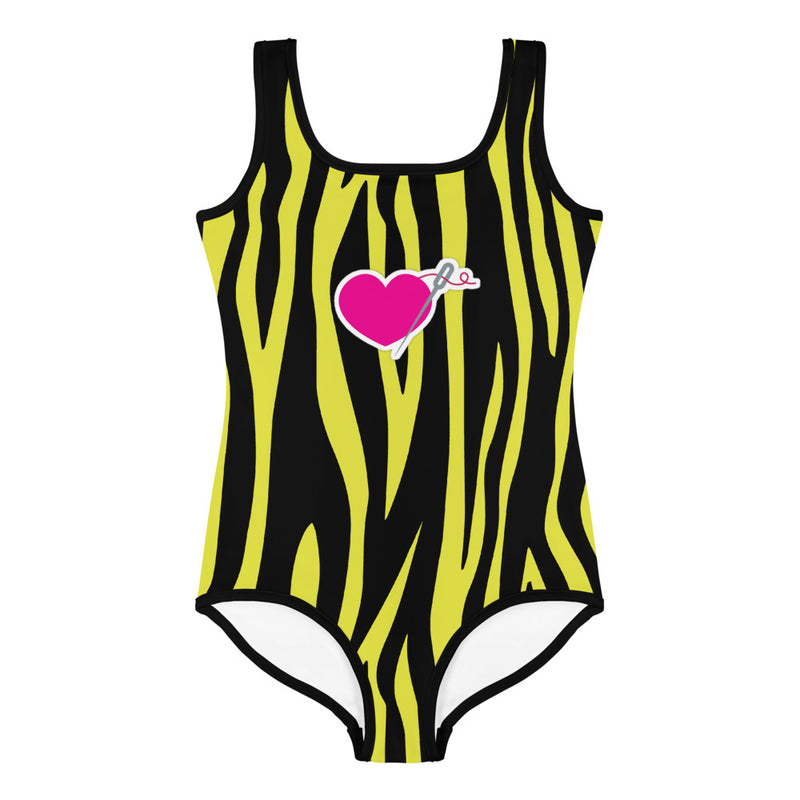 HEART AND NEEDLE ZEBRA LITTLE GIRLS SWIMSUIT
