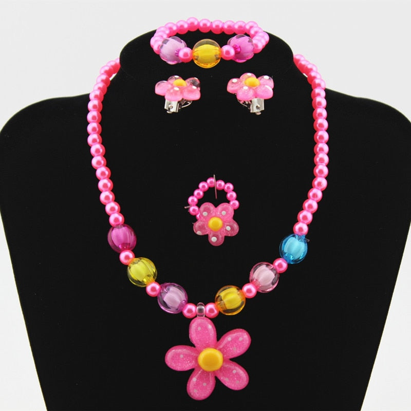 4pcs Flower Necklace, Bracelet, Ring and Earring Set