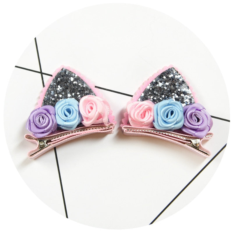 2pcs Felt Fabric Unicorn Ears Hair Clips For Girls