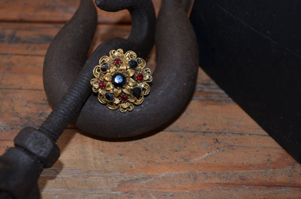 Gold Ring with Red and Black Stones