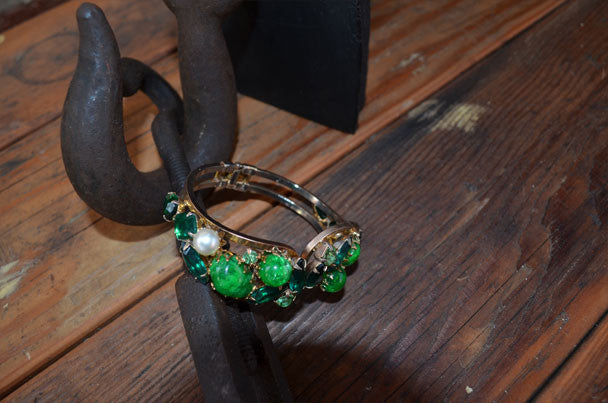 Gold and Green Stone Bracelet
