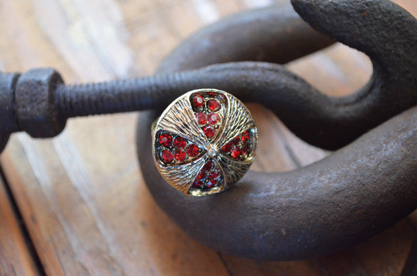 Gold Ring with Red Stones