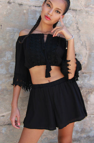 "lovecat=""bardot-flouncy-crop-top-and-shorts-set-in-black"""