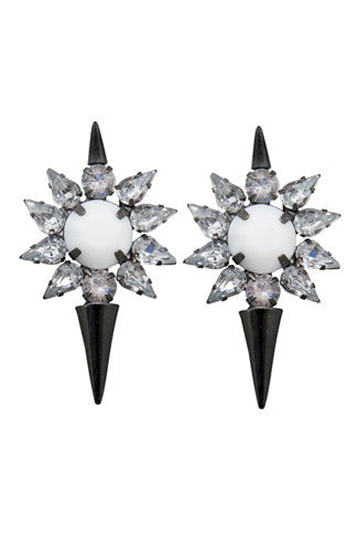 8 Other Reasons Loaded Jewel Spike Stud Earrings in Gunmetal