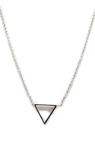Baby Triangle Charm Necklace in Silver -Shot 2