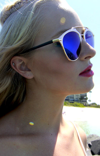 Bar From It Metal Crossbar Royal Blue Mirrored Sunglasses in Gold -Shot 2