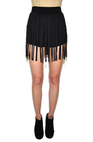 Suede My Way Fringe Shorts in Black