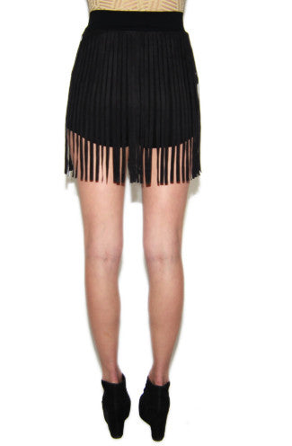 Suede My Way Fringe Shorts in Black -Shot 2