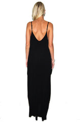 "alt=""Boho-Pocket-Maxi-Dress-in-Black-back"""