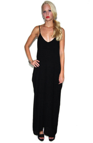Boho Pocket Maxi Dress in Black -Shot 2