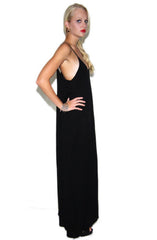 "alt=""Boho-Pocket-Maxi-Dress-in-Black-side"""