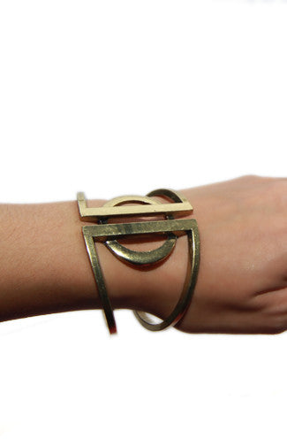 Burnished Circle Geo Hinge Cuff