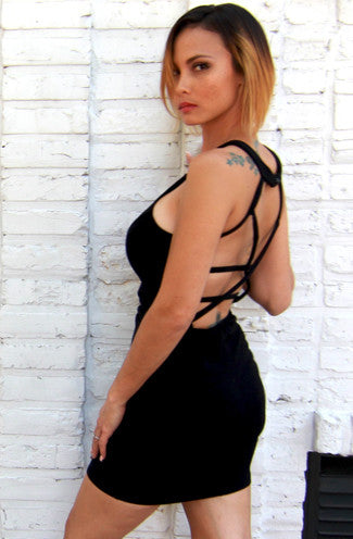 "alt=""Cage-Me-Up-Bodycon-Dress-in-Black-Side"""
