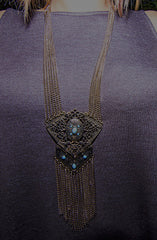 Chevron Floral Filigree Tassel Necklace in Antique Gold