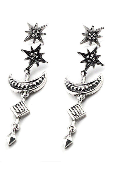 Crescent Moon and Star Drop Earrings in Silver