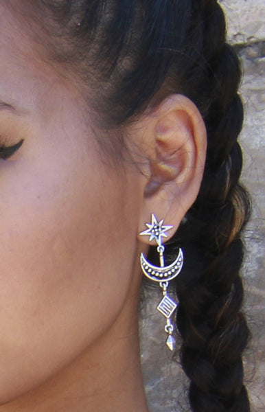 Crescent Moon and Star Drop Earrings in Silver -Shot 2
