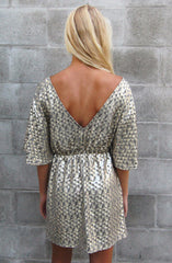 "alt=""Gold-Disco-Bell-Sleeve-Dress-Back"""