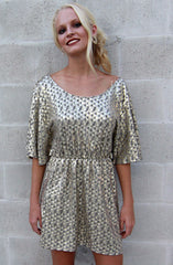"alt=""Gold-Disco-Bell-Sleeve-Dress-Front"""