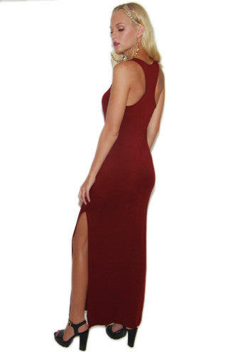 Double Slit Tank Dress in Wine -Shot 2