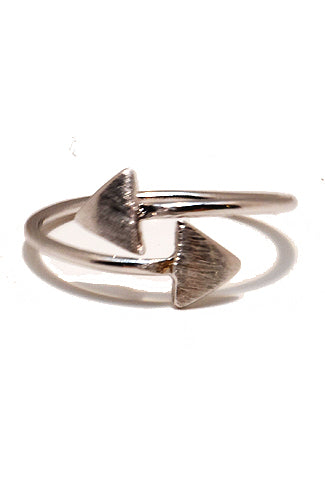 Double Triangle Knuckle Ring Silver