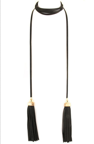 Faux Leather Black Tassel Wrap Necklace