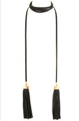 "alt=""Long-Faux-Leather-Black-Tassel-Wrap-Necklace"""