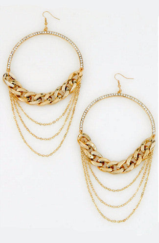 Pave Hoop Earrings w/ Layered Chains in Gold