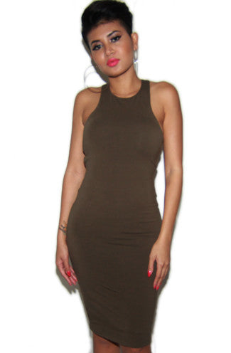 Cut Out Midi Dress in Olive Green -Shot 2