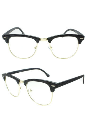 In the Clear Cat-Eye Faux Wood Glasses in Black
