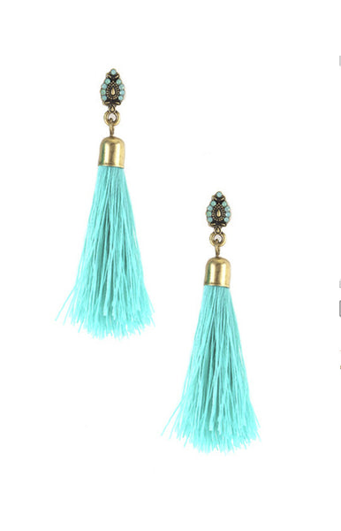 Isis Tassel Drop Threaded Earrings -Shot 2