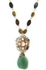 Jade Stone Pendant Necklace in Gold